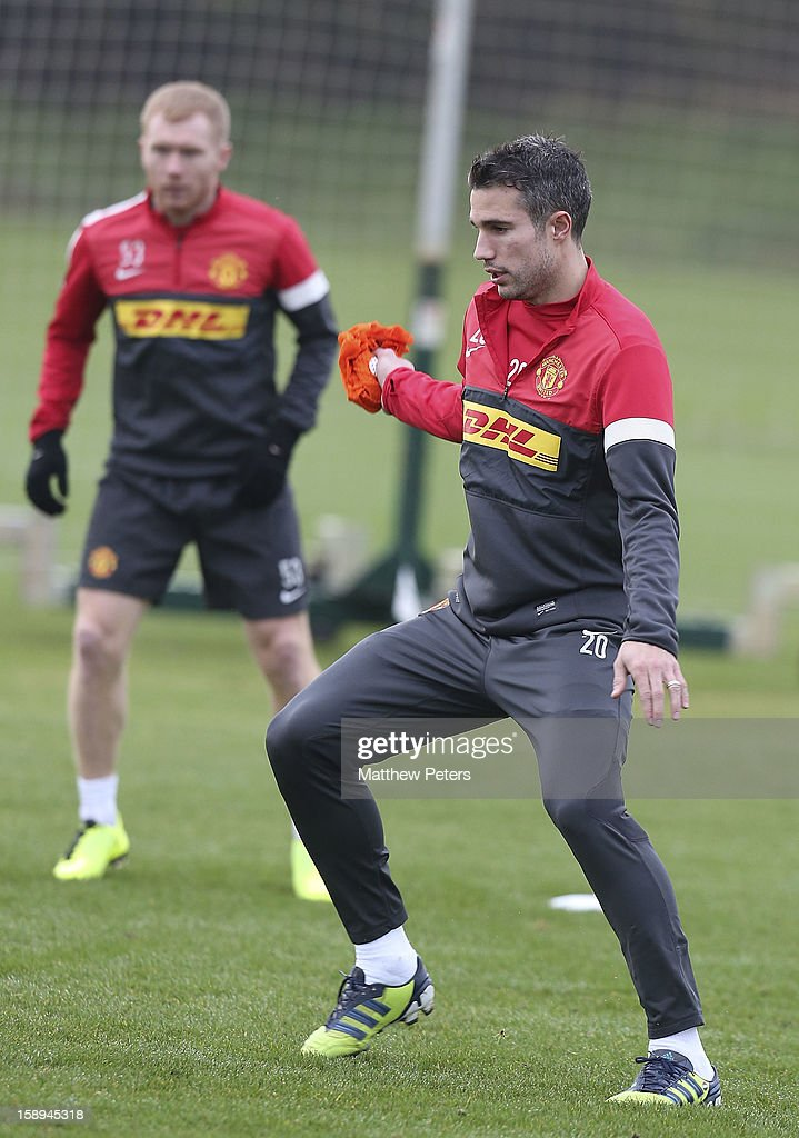 Robin van Persie of Manchester United in action during a first team training session at Carrington Training Ground on January 4, 2013 in Manchester, England.