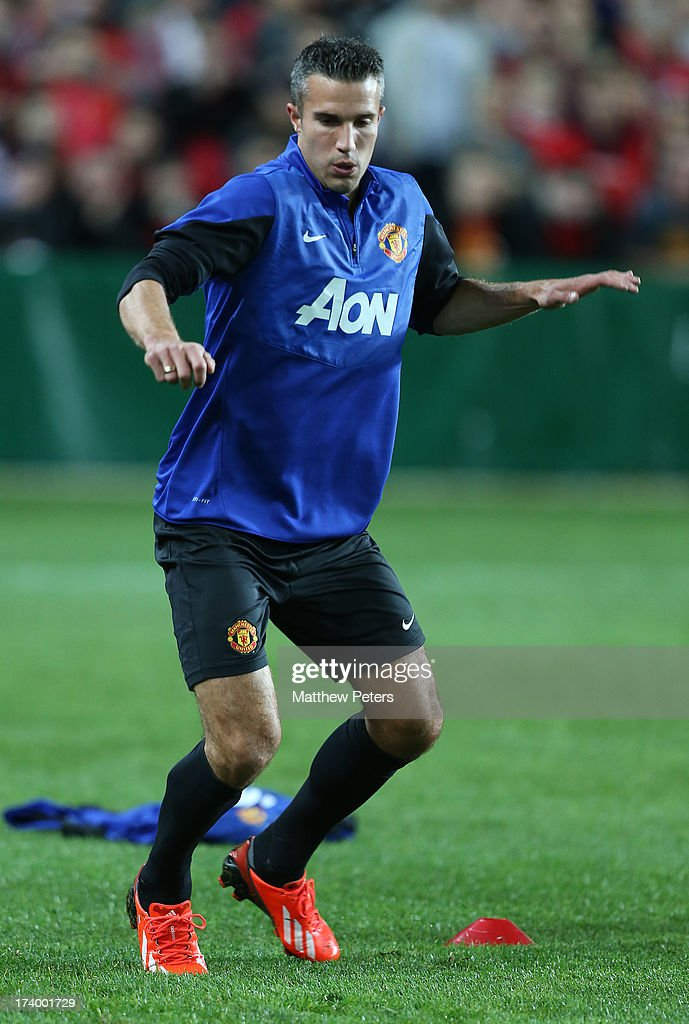 Robin van Persie of Manchester United in action during a first team training session as part of their pre-season tour of Bangkok, Australia, China, Japan and Hong Kong on July 19, 2013 in Sydney, Australia.