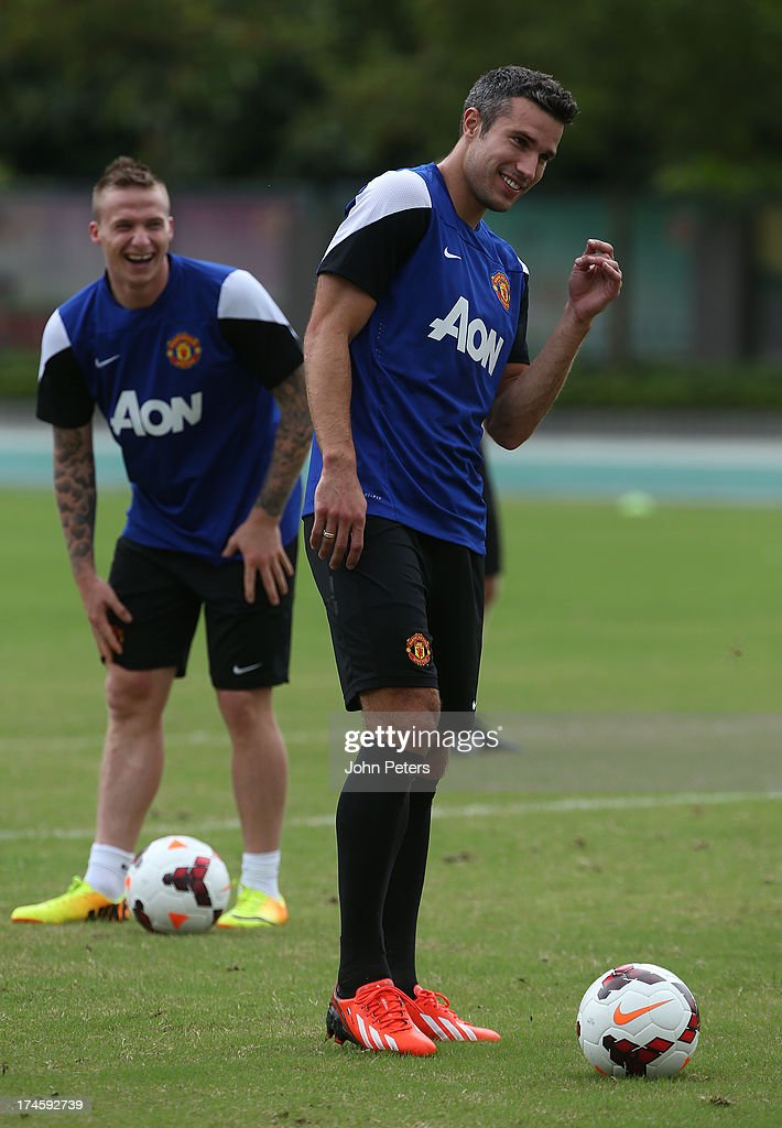 Robin van Persie of Manchester United in action during a first team training session as part of their pre-season tour of Bangkok, Australia, Japan and Hong Kong on July 28, 2013 in Hong Kong, Hong Kong.
