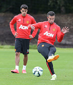 Robin van Persie of Manchester United in action during a first team training session at Aon Training Complex on August 21 2014 in Manchester England