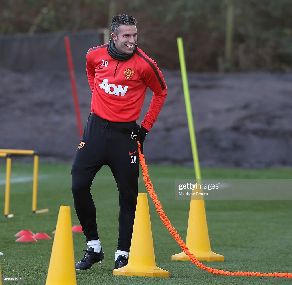 Robin van Persie of Manchester United in action during a first team training session at Aon Training Complex on December 11 2014 in Manchester England