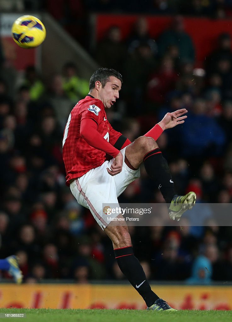 Robin van Persie of Manchester United in action during the Barclays Premier League match between Manchester United and Everton at Old Trafford on February 10, 2013 in Manchester, England.