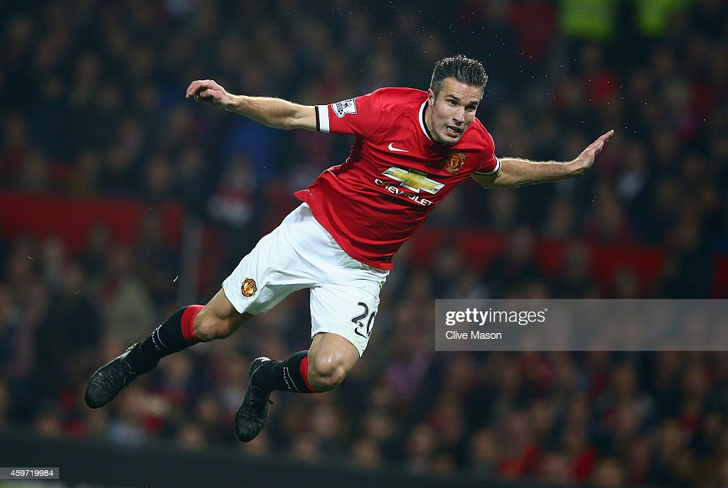 Robin van Persie of Manchester United in action during the Barclays Premier League match between Manchester United and Hull City at Old Trafford on November 29, 2014 in Manchester, England.
