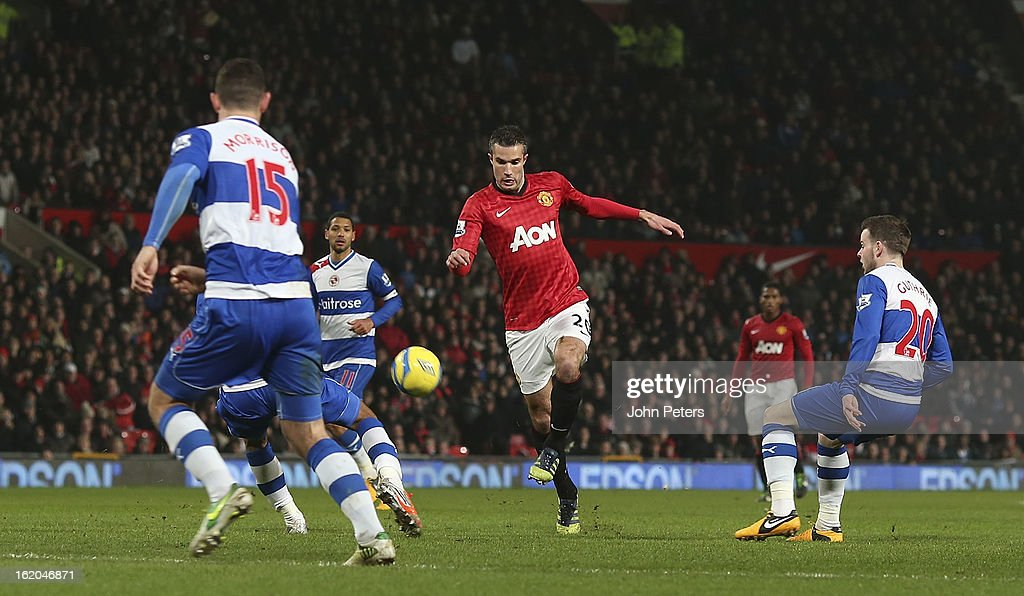 Robin van Persie of Manchester United in action during the FA Cup Fifth Round match between Manchester United and Reading at Old Trafford on February 18, 2013 in Manchester, England.
