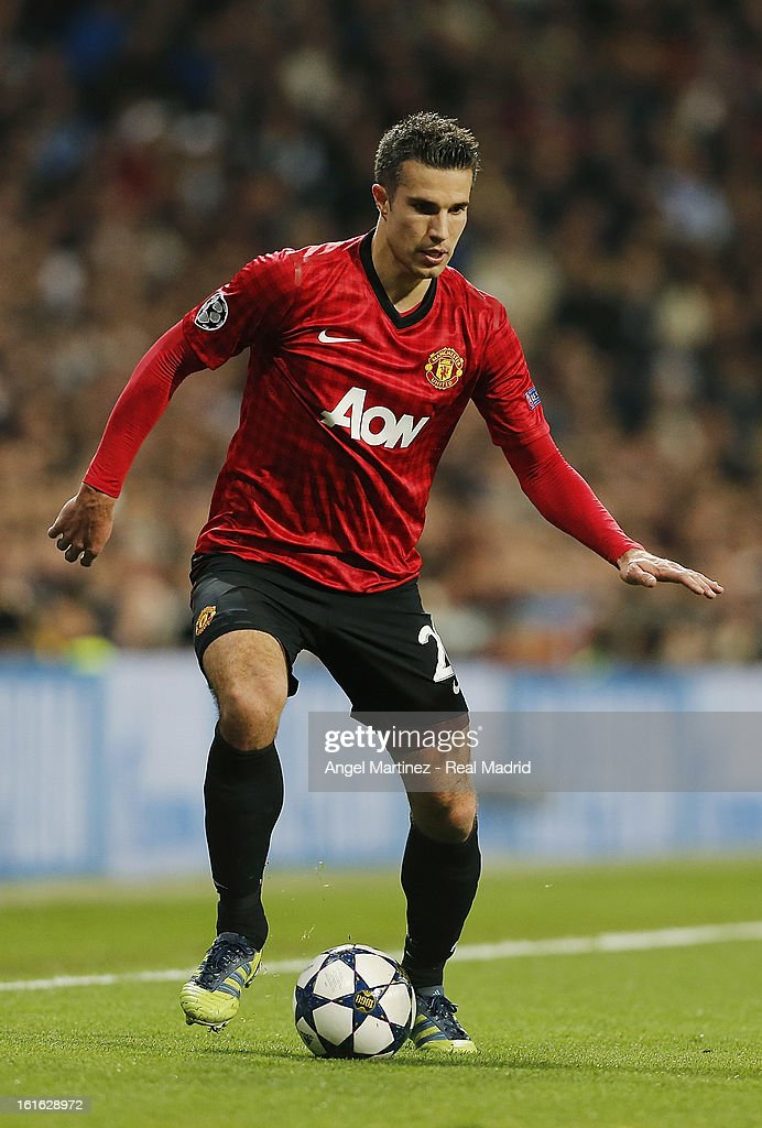 Robin van Persie of Manchester United in action during the UEFA Champions League Round of 16 first leg match between Real Madrid and Manchester United at Estadio Santiago Bernabeu on February 13, 2013 in Madrid, Spain.