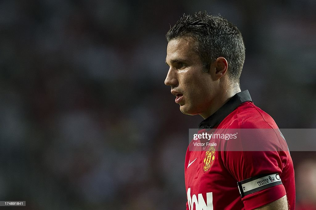 Robin Van Persie of Manchester United looks on during the international friendly match between Kitchee FC and Manchester United at Hong Kong Stadium on July 29, 2013 in So Kon Po, Hong Kong.