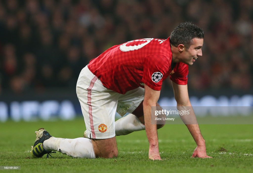 Robin van Persie of Manchester United reacts during the UEFA Champions League Round of 16 Second leg match between Manchester United and Real Madrid at Old Trafford on March 5, 2013 in Manchester, United Kingdom.