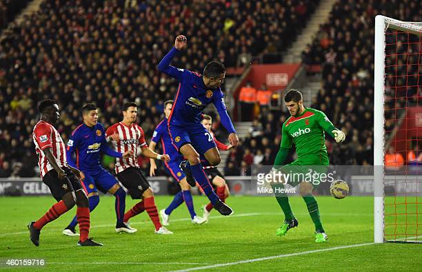 Robin van Persie of Manchester United scores his second goal during the Barclays Premier League match between Southampton and Manchester United at St...