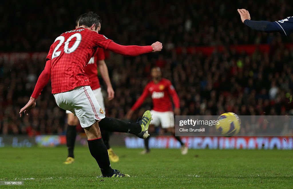 Robin van Persie of Manchester United scores his team's second goal during the Barclays Premier League match between Manchester United and West Bromwich Albion at Old Trafford on December 29, 2012 in Manchester, England.