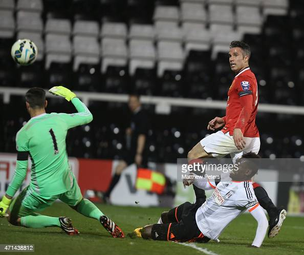 Robin van Persie of Manchester United scores their fourth goal during the Barclays U21 Premier League match between Fulham U21s and Manchester United...