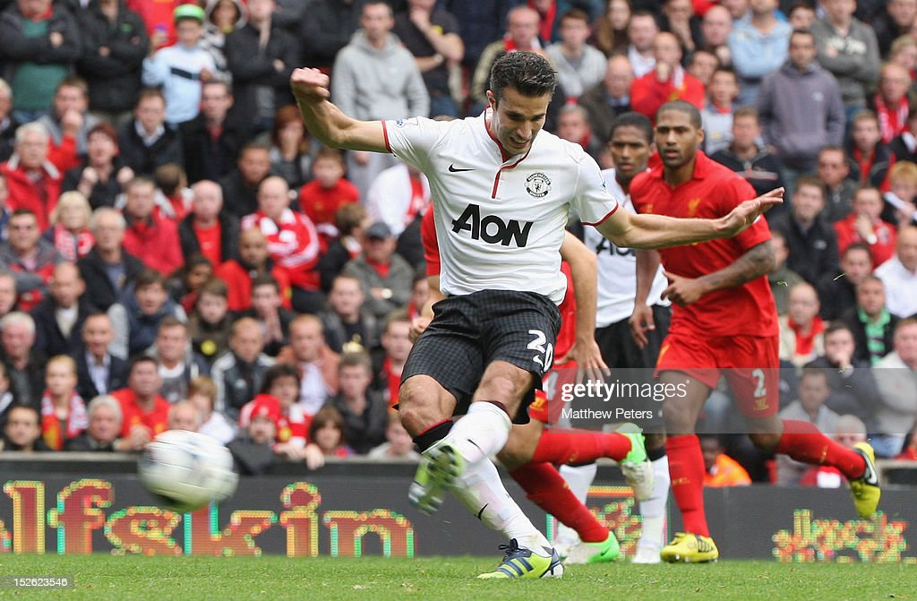 Robin van Persie of Manchester United scores their second goal during the Barclays Premier League match between Liverpool and Manchester United at Anfield on September 23, 2012 in Liverpool, England.