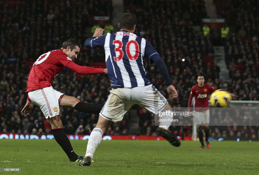 Robin van Persie of Manchester United scores their second goal during the Barclays Premier League match between Manchester United and West Bromwich Albion at Old Trafford on December 29, 2012 in Manchester, England.