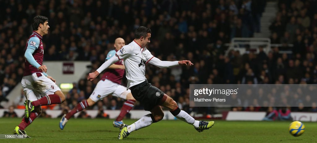 Robin van Persie of Manchester United scores their second goal during the FA Cup Third Round match between West Ham United and Manchester United at Boleyn Ground on January 5, 2013 in London, England.