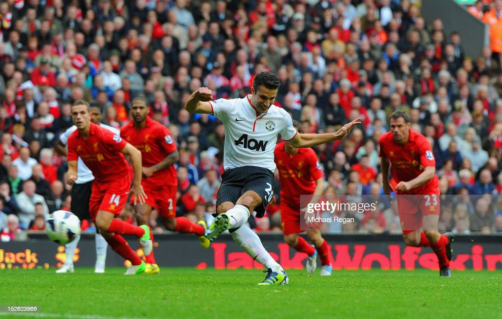 <a gi-track='captionPersonalityLinkClicked' href=/galleries/search?phrase=Robin+Van+Persie&family=editorial&specificpeople=214179 ng-click='$event.stopPropagation()'>Robin Van Persie</a> of Manchester United scores to make it 2-1 during the Barclays Premier League match between Liverpool and Manchester United at Anfield on September 23, 2012 in Liverpool, England.