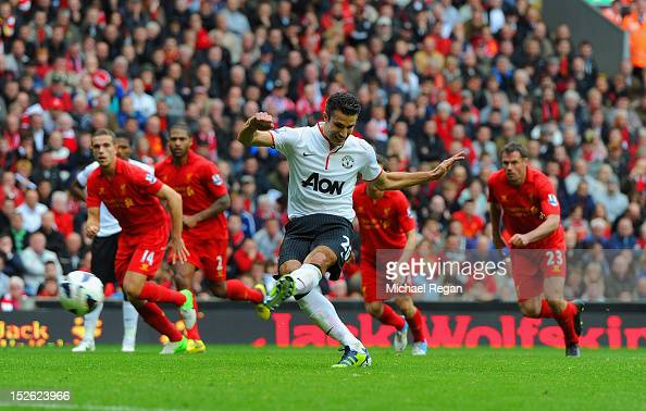Robin Van Persie of Manchester United scores to make it 21 during the Barclays Premier League match between Liverpool and Manchester United at...