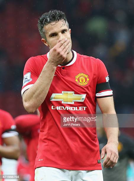 Robin van Persie of Manchester United walks off after the Barclays Premier League match between Manchester United and West Bromwich Albion at Old...