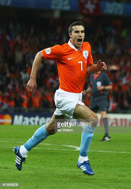 Robin van Persie of Netherlands celebrates after scoring his team's second goal during the UEFA EURO 2008 Group C match between Netherlands and...