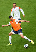 Robin van Persie of the Netherlands controls the ball during a Netherlands training session and press conference at Estadio BeiraRio on June 17 2014...