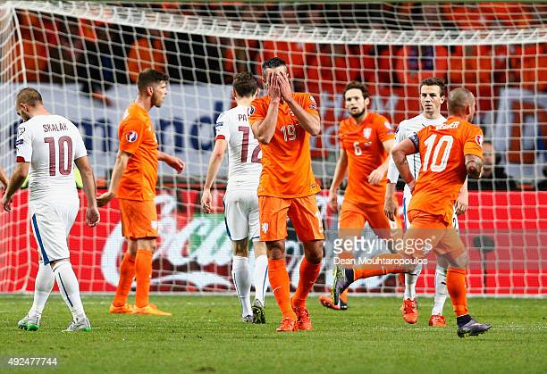Robin van Persie of the Netherlands reacts during the UEFA EURO 2016 qualifying Group A match between the Netherlands and the Czech Republic at...