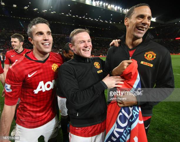 Robin van Persie Wayne Rooney and Rio Ferdinand of Manchester United celebrates on the pitch after the Barclays Premier League match between...