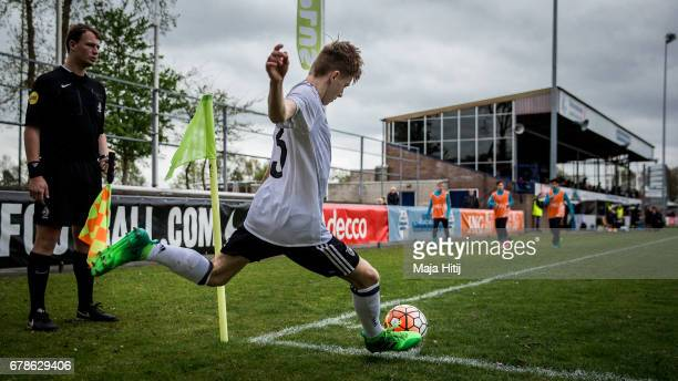 Robin Velasco of Germany kicks the ball during the U15 Netherlands v U15 Germany International Friendly Match on May 4 2017 in Wezep Netherlands