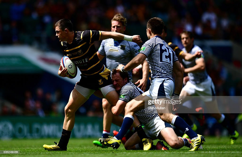 Robin Wedlake of Cornwall is tackled by Jack Leech of Cheshire during the 2016 Bill Beaumont Cup Final between Cornwall and Cheshire at Twickenham Stadium on May 29, 2016 in London, England.