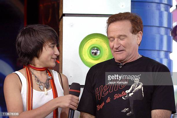 Robin Williams and his daughter Zelda Williams during Robin Williams and JoJo Visit MTV's 'TRL' April 27 2006 at MTV Studios Times Square in New York...