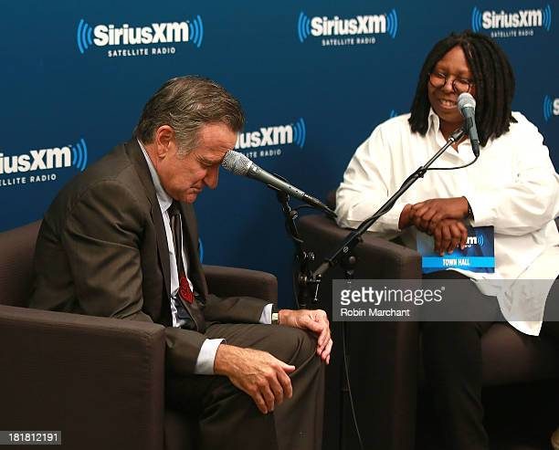 Robin Williams and Whoopi Goldberg during SiriusXM's 'Town Hall' series at SiriusXM Studios on September 25 2013 in New York City