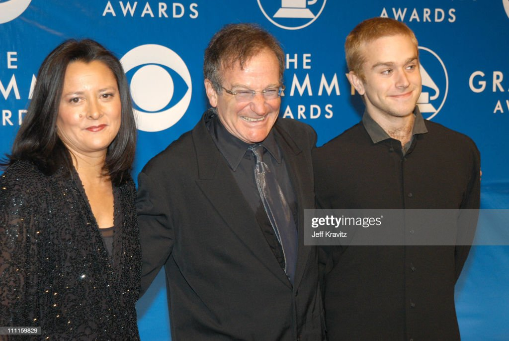 Robin Williams and wife Marsha and son during The 45th Annual GRAMMY Awards - Arrivals at Madison Square Garden in New York, NY, United States.