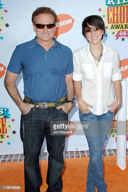 Robin Williams and Zelda Williams during Nickelodeon's 19th Annual Kids' Choice Awards Arrivals at Pauley Pavillion in West wood California United...