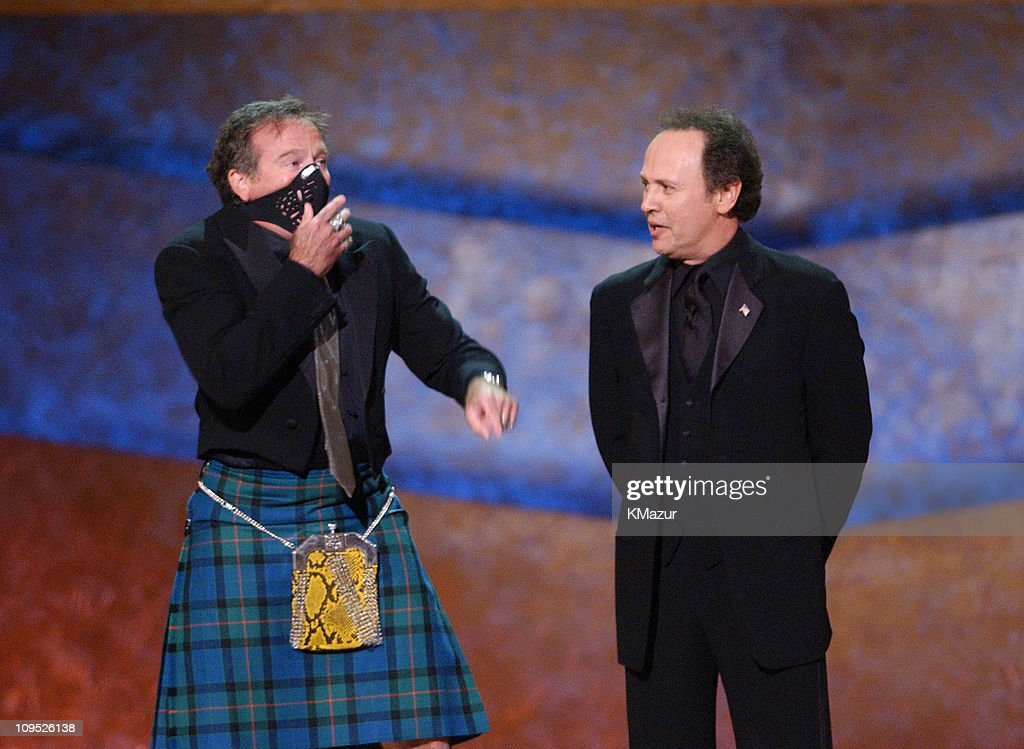 Robin Williams appears on stage with gas mask with Billy Crystal; 'On Stage at the Kennedy Center: The Mark Twain Prize' will air November 21, at 9 p.m. on PBS.