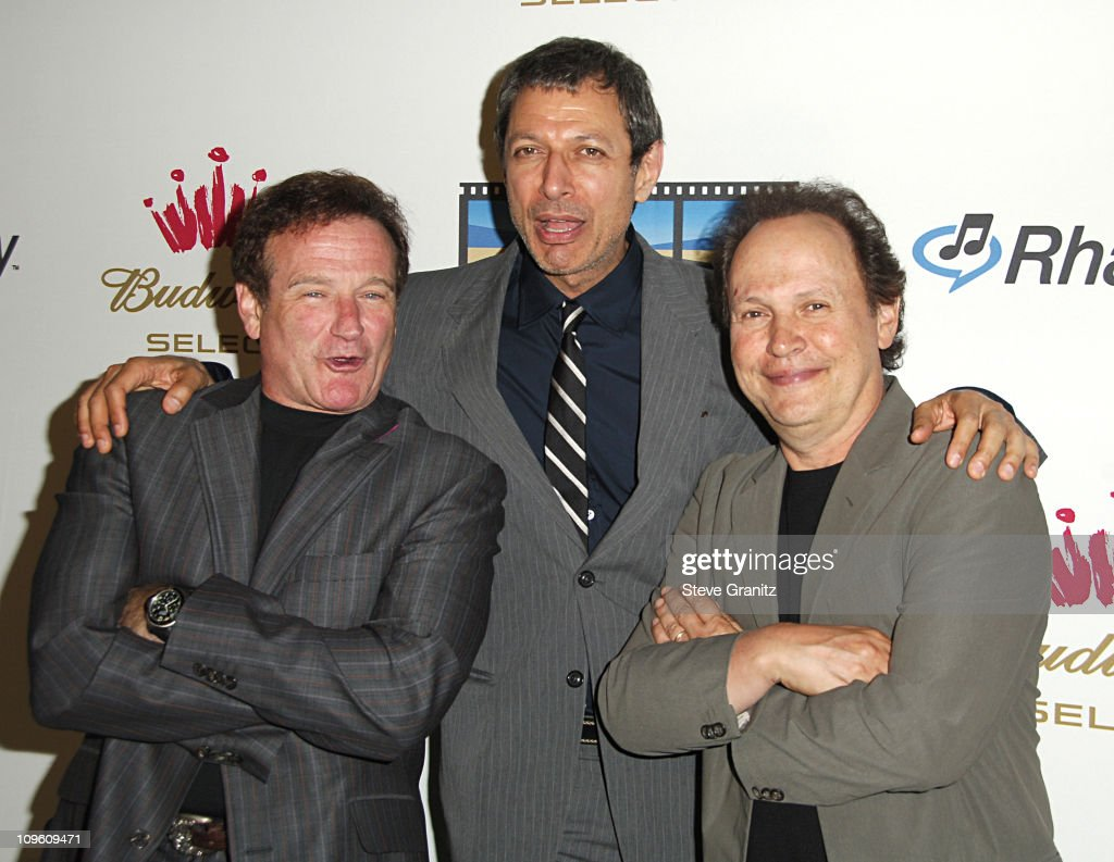 Robin Williams, Jeff Goldblum and Billy Crystal during Kevin Spacey Announces The Launch of The New Triggerstreet.com and Their Latest Venture With Budweiser Select at Social Hollywood in Hollywood, California, United States.