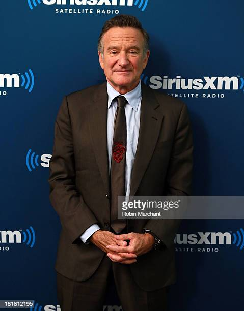 Robin Williams poses at SiriusXM's 'Town Hall' series at SiriusXM Studios on September 25 2013 in New York City