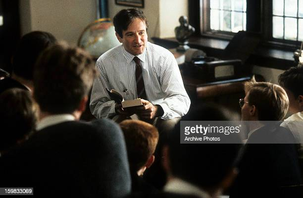 Robin Williams teaching a class in a scene from the film 'Dead Poets Society' 1989