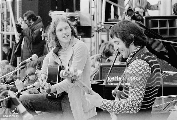 Robin Williamson and Mike Heron of Psychedelic folk band The Incredible String Band performing at the Bickershaw Festival in Greater Manchester May...