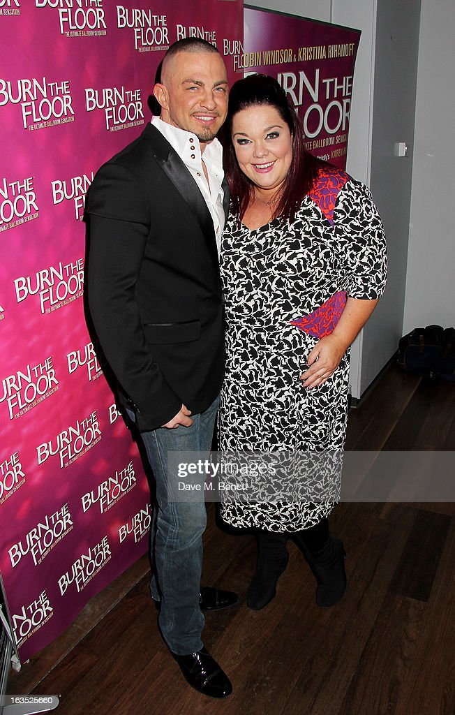 Robin Windsor (L) and Lisa Riley attend an after party celebrating the press night performance of 'Burn The Floor' at the Trafalgar Hotel on March 11, 2013 in London, England.