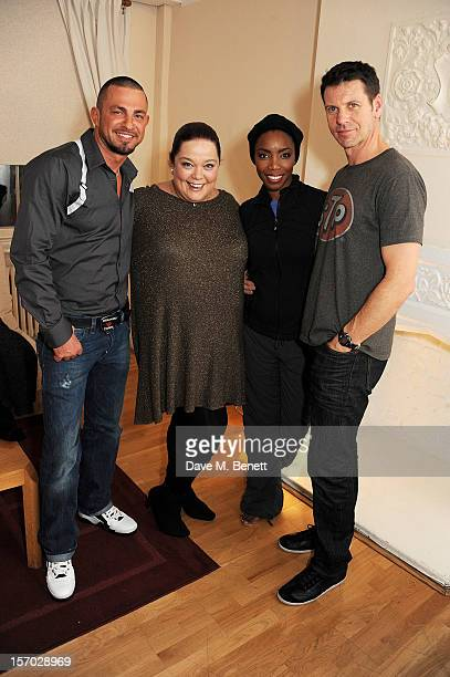 Robin Windsor and Lisa Riley visit cast members Heather Headley and Lloyd Owen backstage at the West End production of 'The Bodyguard' at Adelphi...
