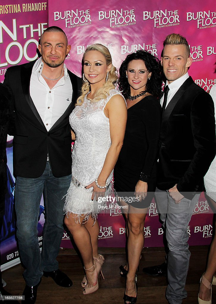 Robin Windsor, Kristina Rihanoff, Giselle Peacock and Patrick Helm attend an after party celebrating the press night performance of 'Burn The Floor' at the Trafalgar Hotel on March 11, 2013 in London, England.