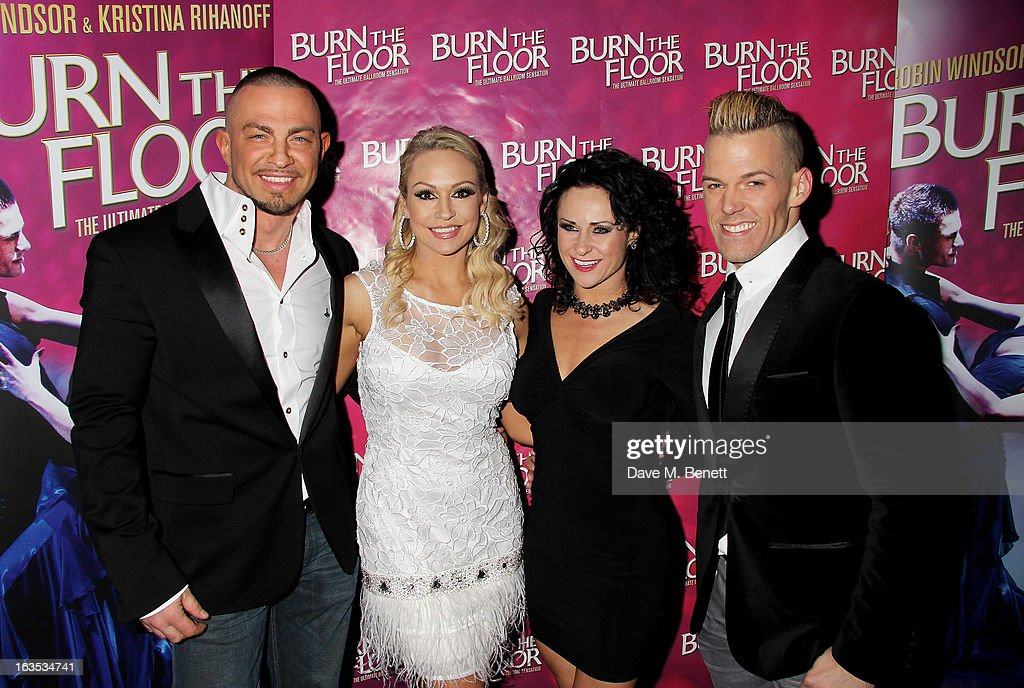 Robin Windsor, <a gi-track='captionPersonalityLinkClicked' href=/galleries/search?phrase=Kristina+Rihanoff&family=editorial&specificpeople=5584816 ng-click='$event.stopPropagation()'>Kristina Rihanoff</a>, Giselle Peacock and Patrick Helm attend an after party celebrating the press night performance of 'Burn The Floor' at the Trafalgar Hotel on March 11, 2013 in London, England.