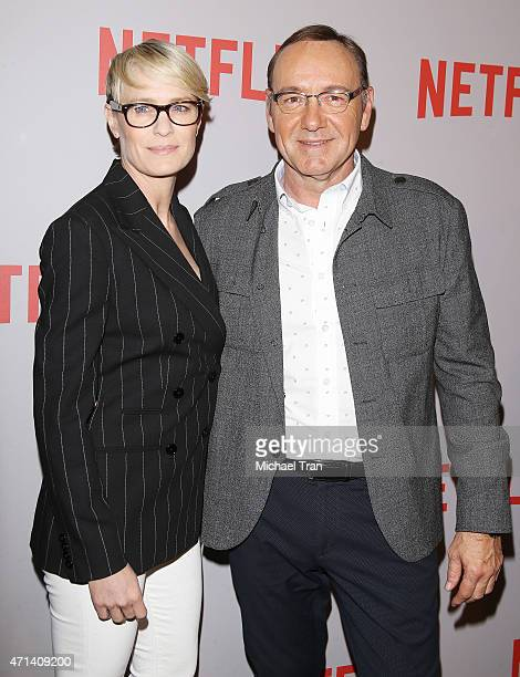 Robin Wright and Kevin Spacey arrive at Netflix's 'House Of Cards' screening event held at Samuel Goldwyn Theater on April 27 2015 in Beverly Hills...