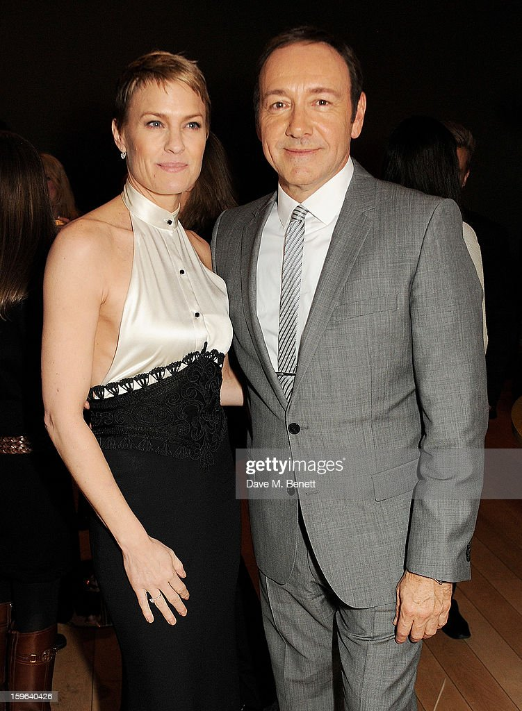 Robin Wright (L) and Kevin Spacey attend an after party celebrating the Red Carpet Premiere of the Netflix original series 'House of Cards' at Asia de Cuba, St Martins Lane Hotel, on January 17, 2013 in London, England.