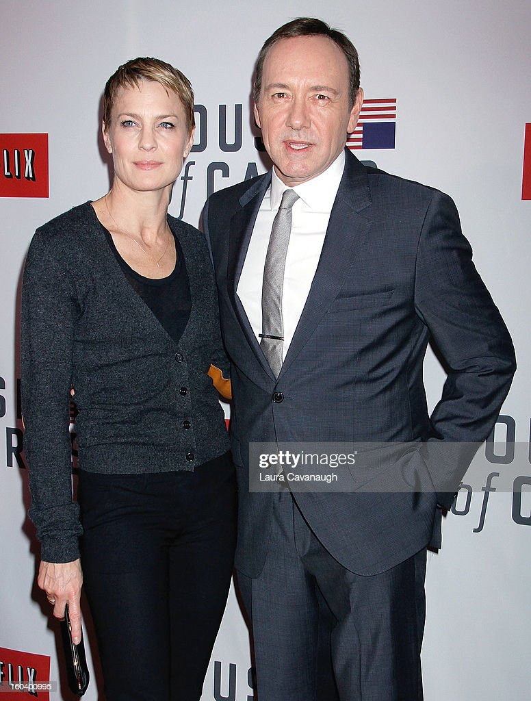 Robin Wright and <a gi-track='captionPersonalityLinkClicked' href=/galleries/search?phrase=Kevin+Spacey&family=editorial&specificpeople=202091 ng-click='$event.stopPropagation()'>Kevin Spacey</a> attend the 'House Of Cards' premiere at Alice Tully Hall on January 30, 2013 in New York City.