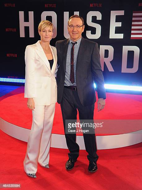 Robin Wright and Kevin Spacey attend the World Premiere of 'House of Cards' Season 3 at The Empire Cinema on February 26 2015 in London England