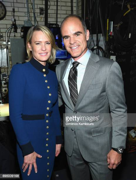 Robin Wright and Michael Kelly attend the 2017 Tony Awards Backstage Audience on June 11 2017 in New York City
