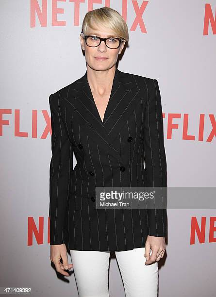 Robin Wright arrives at Netflix's 'House Of Cards' screening event held at Samuel Goldwyn Theater on April 27 2015 in Beverly Hills California