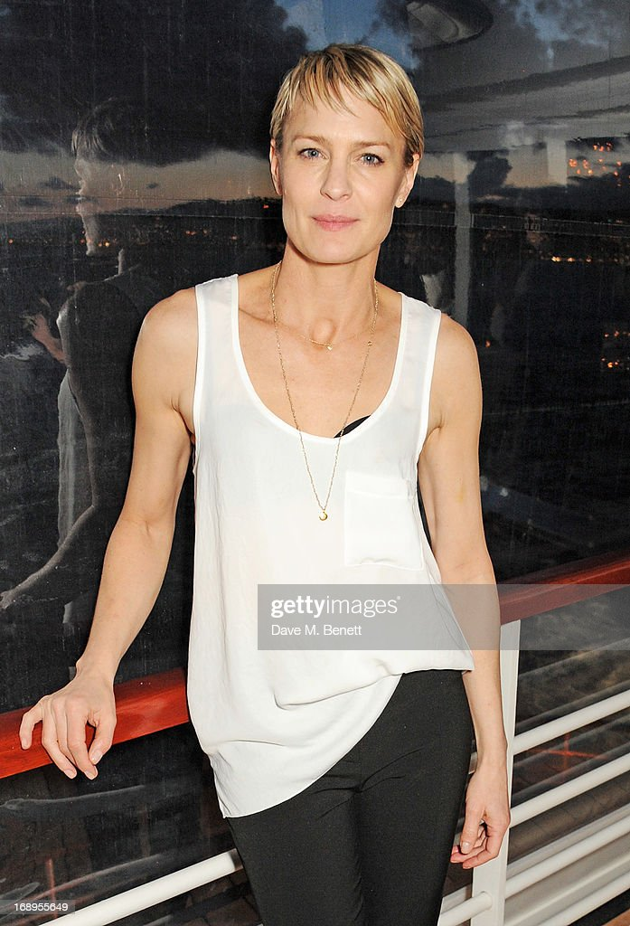 <a gi-track='captionPersonalityLinkClicked' href=/galleries/search?phrase=Robin+Wright&family=editorial&specificpeople=207147 ng-click='$event.stopPropagation()'>Robin Wright</a> attends the annual Finch's Quarterly Review Filmmakers Dinner hosted by Charles Finch, Caroline Scheufele and Nick Foulkes at Hotel Du Cap Eden Roc on May 17, 2013 in Antibes, France.
