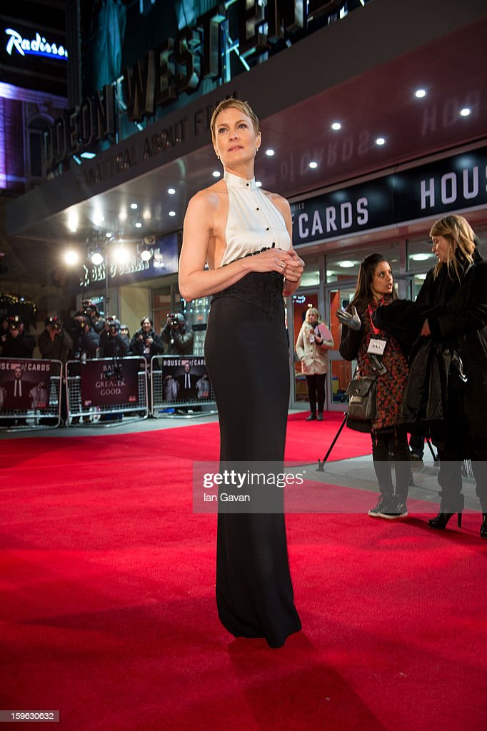 Robin Wright attends the red carpet premiere for the launch of Netflix Original Series 'House of Cards' at Odeon West End on January 17, 2013 in London, England.