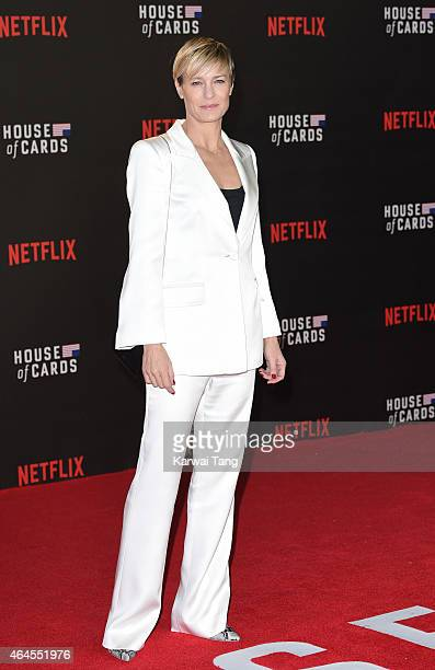 Robin Wright attends the World Premiere of 'House of Cards' Season 3 at The Empire Cinema on February 26 2015 in London England