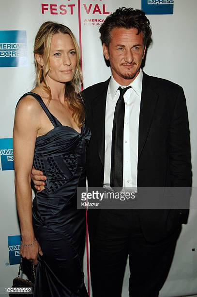 Robin Wright Penn and Sean Penn during 4th Annual Tribeca Film Festival 'The Interpreter' Premiere Inside Arrivals at Ziegfeld Theatre in New York...