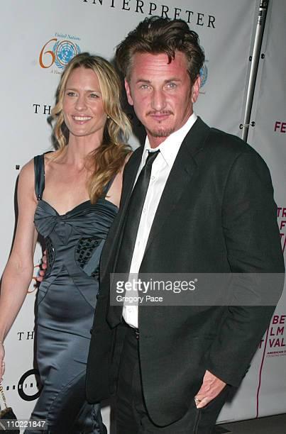Robin Wright Penn and Sean Penn during 4th Annual Tribeca Film Festival 'The Interpreter' Premiere at Ziegfeld Theater in New York City New York...